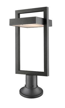 Lampe Piédestal Extérieure – Luttrel – Z-Lite – 566PHBR-553PM-BK-LED