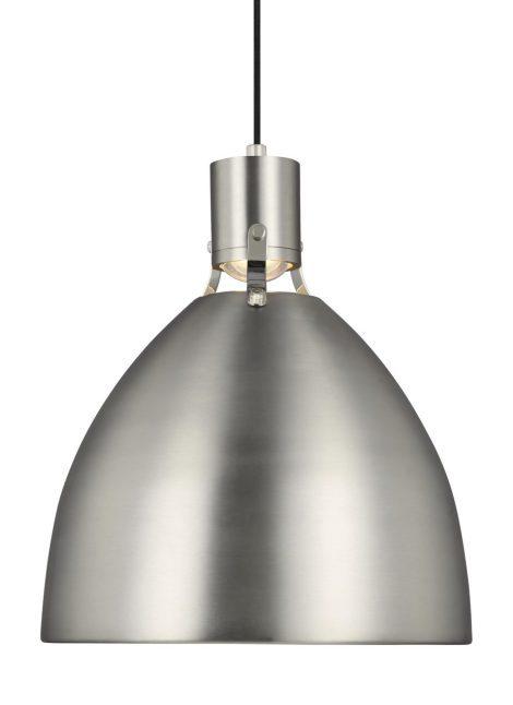 "BRYNNE Luminaire suspendu LED fini nickel satiné - 16 1/2"" Diamètre - 19"" Hauteur - 1 x 14W 1000 Lumen 2700K"