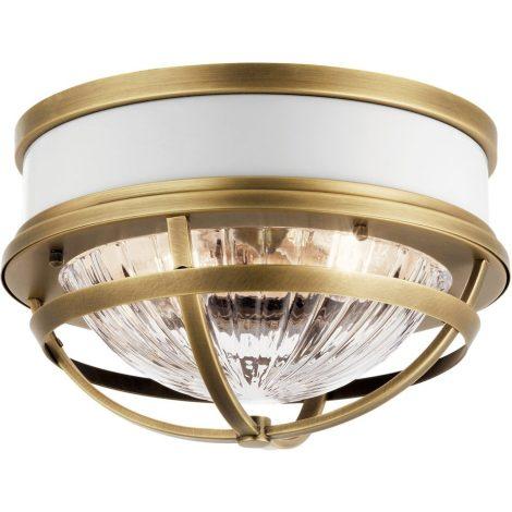 TOLLIS Luminaire plafonnier fini laiton avec diffuseur clair côtelé - 12'' Diamètre - 7,75'' Hauteur - A19 2 x 75W