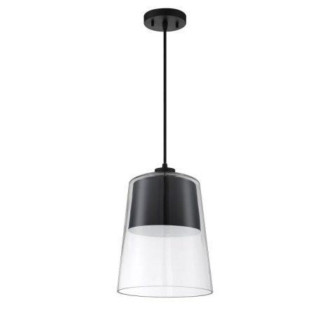 Luminaire suspendu fini noir avec verre clair - 14'' Hauteur - 10'' Diamètre - 100W E26