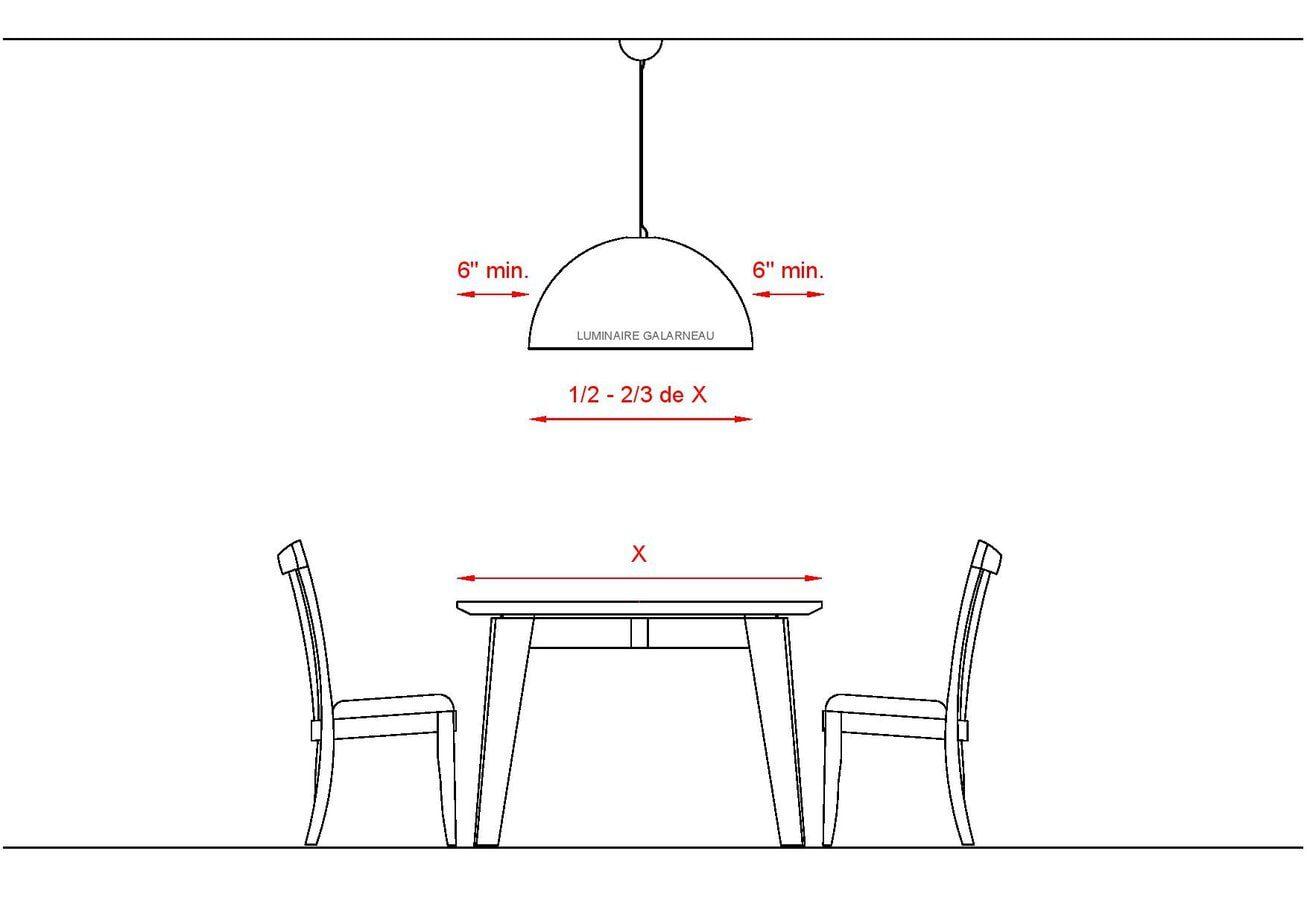 Dimension du luminaire rond par rapport à une table
