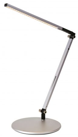 Lampe De Bureau Z-Bar Mini Solo Gris, Base Standard Blanc Dou 3500K