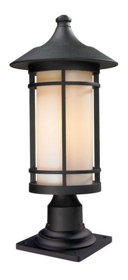 Lampe Piédestal Extérieure – Woodland – Z-Lite – 527PHB-533PM-BK