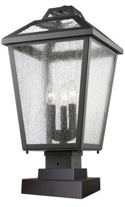 Lampe Piédestal Extérieure – Bayland – Z-Lite – 539PHBS-SQPM-BK