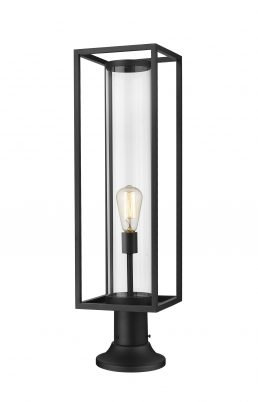 Lampe Piédestal Extérieure – Dunbroch – Z-Lite – 584PHBR-553PM-BK